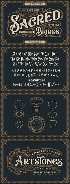 Sacred Bridge is an old fashioned typeface ,come up with clean and letterpress s. - Sacred Bridge is an old fashioned typeface ,come up with clean and letterpress style, regular and i - Hand Lettering Alphabet, Typography Letters, Typography Logo, Fashion Typography, Vintage Fonts, Vintage Typography, Font Design, Lettering Design, Victorian Fonts