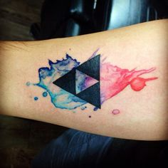 Watercolor triforce tattoo