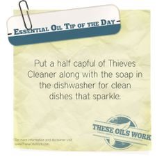 Great tip for thieves cleaner in the dishwasher. I love how my glasses sparkle! www.theoildropper.com to purchase.