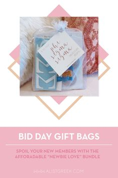 Spoil your new members this recruitment with the Newbie Love bundle! Gift bag includes a sorority decal, hair tie set, and button set. Phi Sigma Sigma Gifts   Phi Sigma Sigma Bid Day   PhiSig New Member Gifts   Phi Sig Rush Gift Bags   Phi Sigma Sigma Recruitment   Sorority Bid Day   Sorority Recruitment   Bid Day Bags   Sorority New Member Gift Ideas #BidDayGifts #SororityRecruitment Alpha Epsilon Phi, Phi Sigma Sigma, Alpha Sigma Alpha, Alpha Chi Omega, Sorority Bid Day, Sorority Recruitment, Bid Day Gifts, Elastic Hair Ties, Tie Set