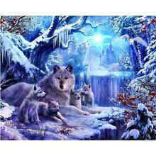 Winter wolf Diy Diamond painting kits mosaic resinstone square hoom decorative pictures diamond embroidery YXZ96(China (Mainland))