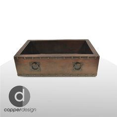 """Copper Apron Farmhouse Kitchen Sink with Towel Rings 33""""x22"""" 