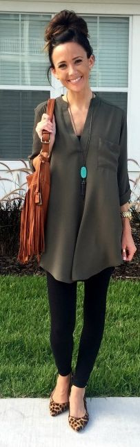 Khaki Oversized Blouse by Sequins & Things