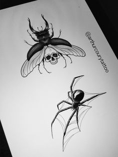 Flashs tattoos, Insects, Spider, Beetle www.instagram.com/arthurcourytattoo