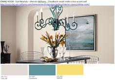 DINING ROOM - City Loft - Cool Neutrals – Sherwin Williams - Cloudburst would make a nice accent wall http://www.sherwin-williams.com/homeowners/inspiration/gallery/interior-rooms/sitting-room/