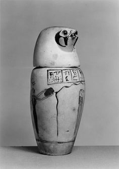 """Two Egyptian canopic jars, ca. """"During mummification, the internal organs of the deceased were removed from the body and placed in a set of four special containers, the. Ancient Egyptian Artifacts, Ancient Egypt Art, Kemet Egypt, Luxor Egypt, Sons Of Horus, Canopic Jars, Vases, Baboon, Old Things"""
