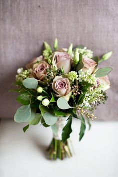 roses and eucalyptus wedding bouquet - switch to ivory roses?