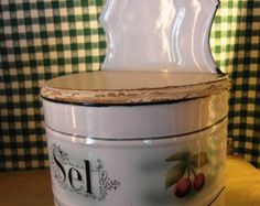 Antique French enameled SALT BOX with CHERRIES - Edit Listing - Etsy