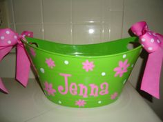 Personalized oval toy gift or storage tub bucket  by DottedDesigns, $12.00  just in time for easter!!  great idea for my girls!!