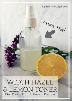 For acne, breakouts, dry skin, sensitive skin, aging skin, wrinkles, and more. Make your own DIY Facial Toner with Witch Hazel and Fresh Lemon Juice with this easy beauty recipe