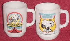SNOOPY FOR PRESIDENT Political Campaign MUG Set/2 Vintage 1980 Fire King Collectible Series VOTE PEANUTS