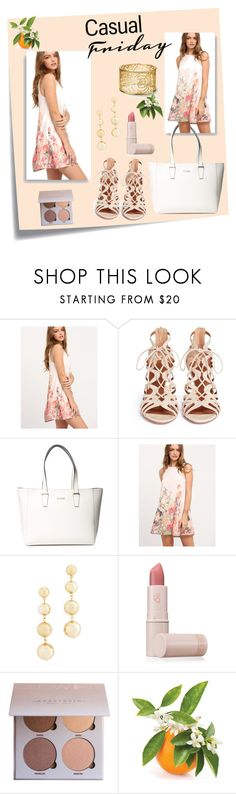 """""""Four more days til Friday!"""" by norma-licata ❤ liked on Polyvore featuring Post-It, Aquazzura, GUESS, Rebecca Minkoff and Lipstick Queen"""
