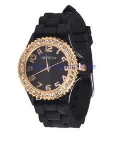 Armbanduhr Strass Unisex Schwarz Gold Uhr Analog Luxus Edel Herrenuhr Damenuhr