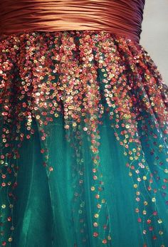 Love this teal tulle skirt with bronze sequins