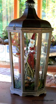#Christmas lantern  Take one of your collectiable santa's and high light in a lantern
