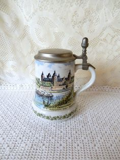 Unique vintage German beer stein pewter lid stoneware Schwind Brau Bavaria Germany Aschaffenburg