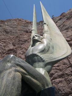 Another view of the Hoover Dam Art Deco Guardian Angels