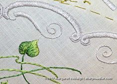 Stamped in the 20th century, stitched in the 21st. Scalloped border on stamped vintage Society Silk doily.