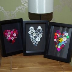 This is a cute little heart home decoration or present to anyone who means a lot to you. Made out of a beautiful display of buttons, the heart really stands out in the all black frame and background. Available in three colour options, these frames are perfect as a gift for the home of someone special. Ideal as a Christmas present!  The frame measures 27.4cm by 22.3cm and has a rest allowing it to stand proudly on a mantelpiece or shelf as well as eyelets to allow it to be hung on the wall…