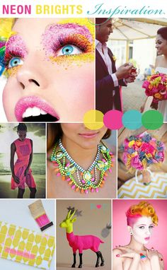 Neon Brights, Bright Colours, Wedding Inspiration, Bridal Inspiration Boards, Fashion, Styling, Ideas, Colour, Pink, Blue, Green, Yellow (2)