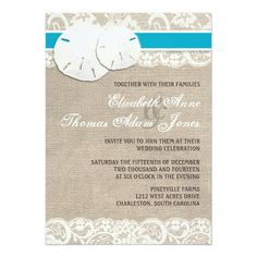 Custom Beach Rustic Burlap Lace Wedding Invitation Malibu created by ModernMatrimony. This invitation design is available on many paper types and is completely custom printed. Country Wedding Invitations, Wedding Menu Cards, Rustic Invitations, Wedding Invitation Design, Wedding Themes, Bridal Shower Invitations, Wedding Ideas, Invitation Ideas, Wedding Stuff