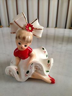 Very RARE ~ Vintage Inarco Christmas Poinsettia BLOOMER GIRL Figurine 100.