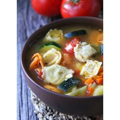 Tortellini Vegetable Soup ❤ liked on Polyvore featuring home and kitchen & dining
