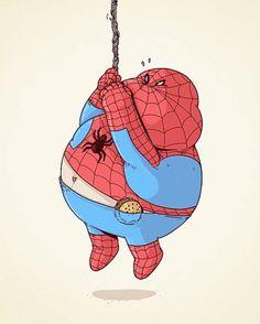 Une série de magnifiques illustrations des super héros et personnages cultes de la pop culture en version obèse, imaginées par le talentueux et prolifique i