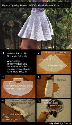 Quilted Skater Skirt How to make a circle skirt. Diy Quilted Skater Skirt - Step to make a circle skirt. Diy Circle Skirt, Circle Skirt Pattern, Circle Skirt Tutorial, Skater Skirt Pattern, Circle Skirts, Skater Skirts, Dress Sewing Patterns, Clothing Patterns, Skirt Sewing