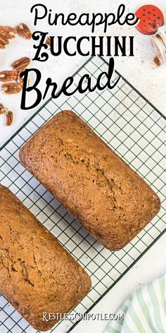 So moist and delicious! Pineapple zucchini bread is not too sweet - it's the perfect summer recipe for a lazy breakfast or afternoon snack. Freeze slices for a quick breakfast idea for back to school. Zucchini Bread With Pineapple, Moist Zucchini Bread, Zucchini Bread Recipes, Quick Bread Recipes, Easy Recipes, Pineapple Recipes, Fruit Recipes, Afternoon Snacks, Vintage Recipes