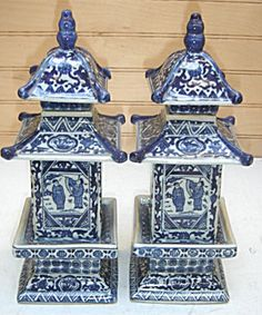 These pagoda ginger jars are available here for $45.00 for the pair with free shipping. What a rare and wonderful combination of blue and ...