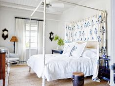 White bedding with tropical blue headboard