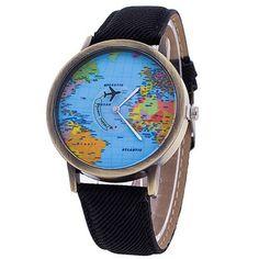 Fashion Global Travel Map Denim Fabric Watch Band Women Honesty Watch Female Luxury Brand Womens Dress Watches Watches