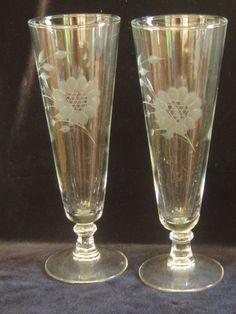 Pair of W.J. Hughes CORNFLOWER Pilsner Glasses