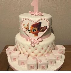A super cute Bambi cake for a birthday. By - Party - Bambi - first birthday cake-Erster Geburtstagskuchen 1st Birthday Party For Girls, Girl Birthday Themes, Baby Girl Shower Themes, Girl Baby Shower Decorations, First Birthday Cakes, Birthday Ideas, Baby Girl Cakes, First Birthdays, Bambi Baby