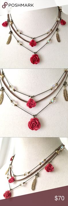 """Betsey J 'Lady Luck' Feather/Rose Necklace  HTF! From popular, retired collection. Gold, antiqued gold & copper tone metals. About 16"""", 17"""" & 18 with 3"""" extender. Sparkling beads, deep pink roses, feathers and more. No tag, new condition Very HTF! So cute! Betsey Johnson Jewelry Necklaces"""