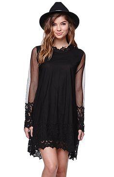 Cold Shoulder Smock Dress With Crochet Detail - Black Parisian SgrcJbgi7E