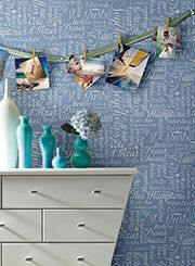 Inspired by the turquoise waters and blue skies of luxury beaches around the globe, this wallpaper evokes the vacation-like vibe of faraway places. yorkwall.com