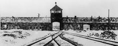 AFP/Getty Images A picture taken in January 1945 depicts the Auschwitz concentration camp gate and railways after its liberation by Soviet troops