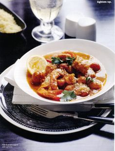 Fish and prawn tagine with apricots