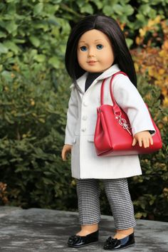 American Girl Doll Clothing White Jacket Black by NoodleClothing