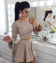 Two Piece A-Line Round Neck Long Sleeves Grey Lace Short Homecoming Dress Skirt Outfits, Chic Outfits, Trendy Outfits, Dress Skirt, Midi Skirt, Sexy Dresses, Short Dresses, Fashion Dresses, Cute Fashion