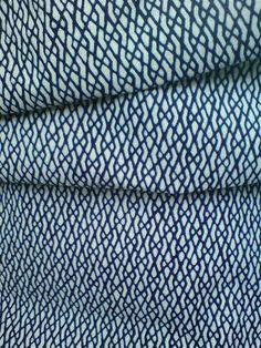 """Indigo Blue White Zigzag Line Vintage Japanese Kimono Yukata Cotton Fabric 50"""""""