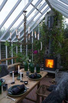 Choosing greenhouses and oranges. We help you in Sweden Green House fireplace Choosing greenhouses and oranges. We help you in Sweden Green House Outdoor Rooms, Outdoor Gardens, Outdoor Living, Indoor Gardening, Dream Garden, Home And Garden, Garden Tips, Gazebos, Backyard Greenhouse