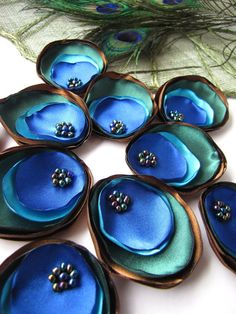 Satin fabric handmade sew on flower appliques (10pcs)- CLASSIC PEACOCK EYE
