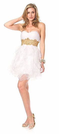 Short Poofy Homecoming Dress White/Gold Strapless Organza Sweetheart Neck