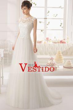 2015 Corte vestido de cuello alto de encaje de la blusa una línea de cola de la boda de tul con la cinta