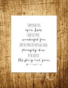 Turn Your Eyes Upon Jesus Hymn Design 8x10 by OhMySoulDesign
