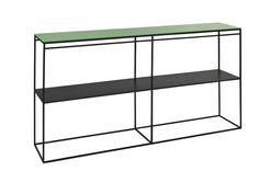 console double 160x30x90 structure en acier et plateau en verre de couleur