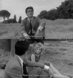 Alain Delon and Monica Vitti in L'Eclisse, dir. Michelangelo Antonioni, 1962